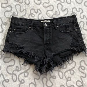 We The Free High Waisted Black Distressed Shorts